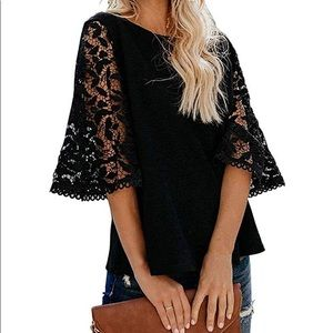 Beautiful woman lace top loose chiffon blouse